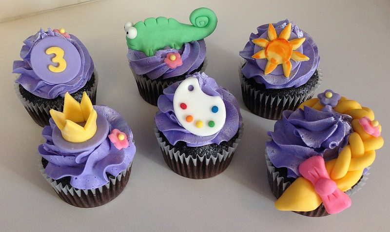 one of each tangled cupcake.