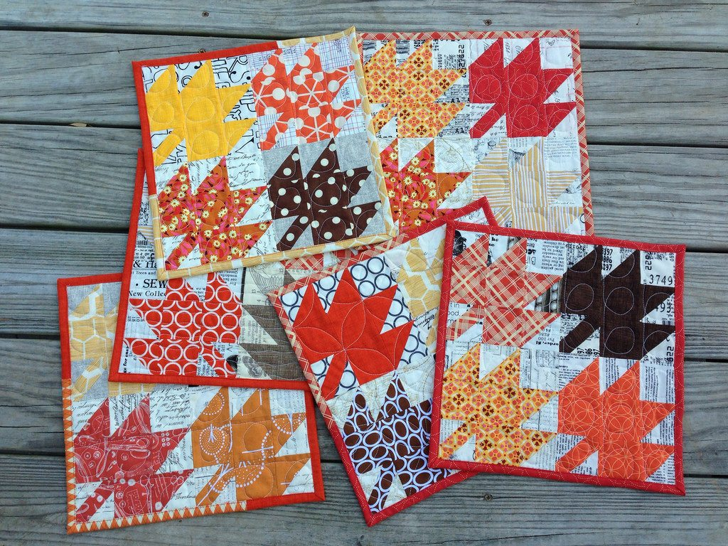 modern maples mug rug mania. a family set.