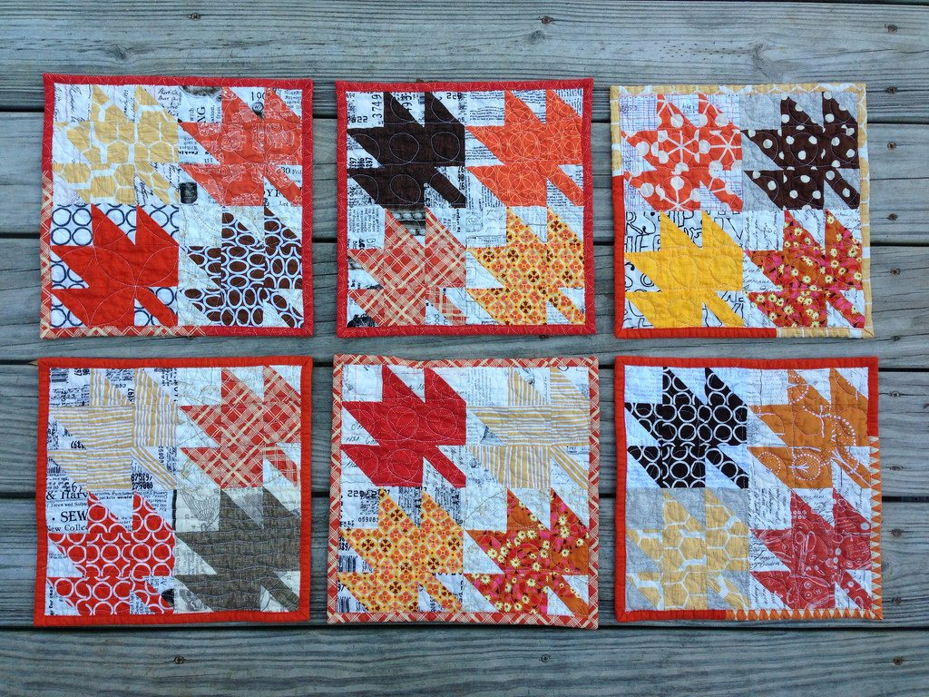 modern maple mug rugs. washed and crinkled edition.