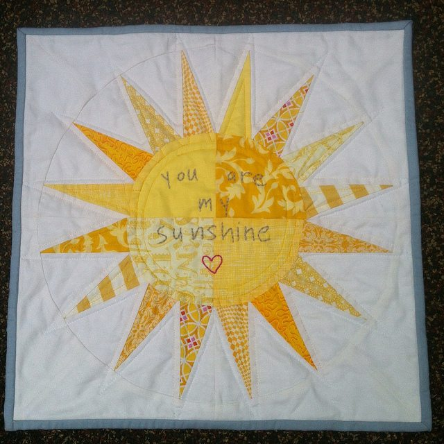 you are my sunshine mini quilt.