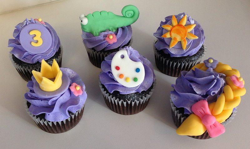 one of each tangled cupcake.